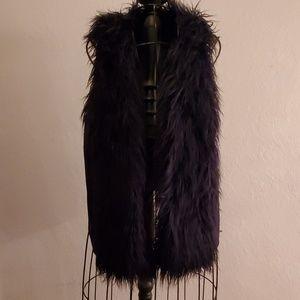 Cabi Black Shaggy Faux Fur Vest M